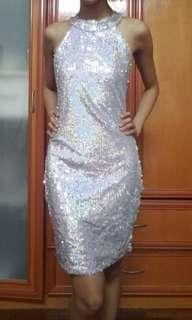 Silver bareback sequins dress