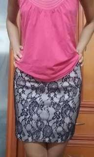 Black nude lace mini skirt
