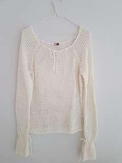 Tommy Hilfiger/Tommy Jeans White Knitted Cotton Sweater/Jumper