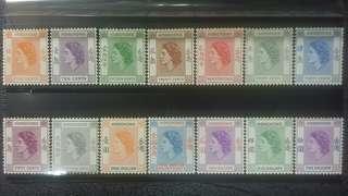 1954年 香港女皇通用郵票全套14枚
