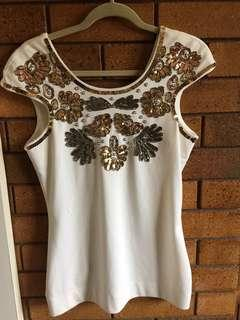 Lipsy London Size 14 embellished top