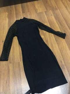 Asos turtle neck net details dress