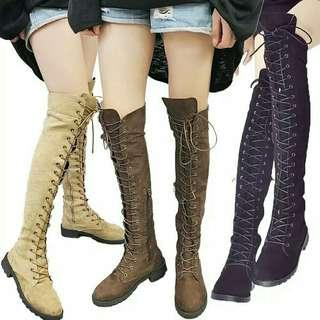 Over the knee military style boot