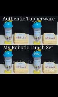 Instock Authentic Tupperware  My Robotic Lunch Set Robot Tumbler 400ml (1) 8.3cm(D) × 20.1cm(H) Robot Sandwich Keeper (1) 13.9cm(L) × 13.2cm(W) × 5.2cm(H)  Retail Price S$22.10 Now S$18.80 blue set