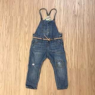 🚚 Zara牛仔吊帶褲 18-24m/96cm