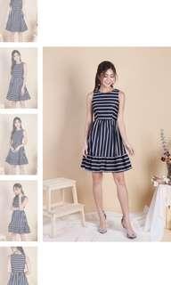 Jazzy Stripes Ruffled Hem Dress in Midnight Navy - 3inute