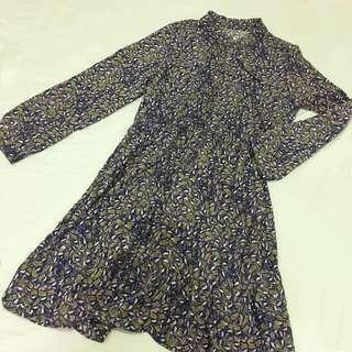 🚚 樹葉圖騰碎花連衣裙 洋裝 連身裙