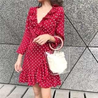 🆕 READY STOCK POLKADOT DRESS