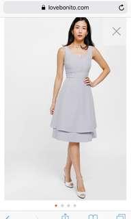 Lyande Notched Layered Midi Dress