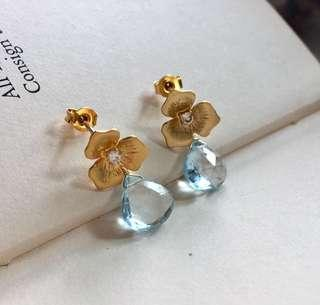 Sky Blue Topaz Flower 14k Gold Filled Earring Studs