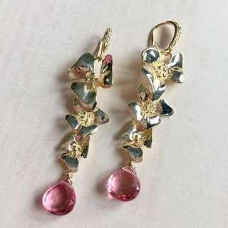 Pink Quartz Flowers Long Gold Earrings