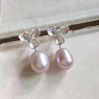Pink Freshwater Pearls Sterling Silver Flower Earrings