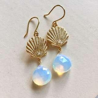 Opal quartz Gold Shell Earrings