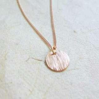 Rose Gold Plated Round Pendant Necklace