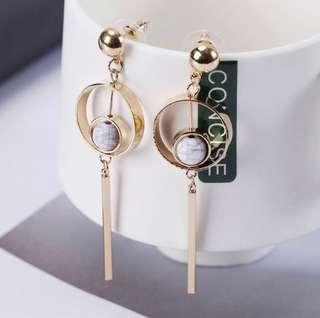 'Meghan' Geometric Inspired Faux Marble Drop Earrings