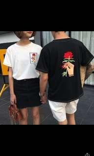 ulzzang embroidered rose shirt [black]