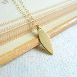 Brass Blade 14k Gold Filled Necklace