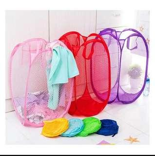 1 Pc Foldable Pop up Mesh Washing Laundry Basket Bag