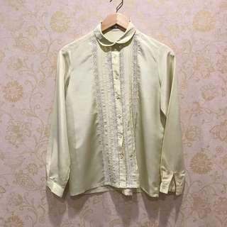 Yellow Vintage Blouse with Peterpan Collar