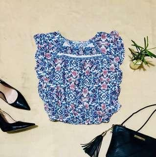 AMERICAN EAGLE Floral Ruffle Top