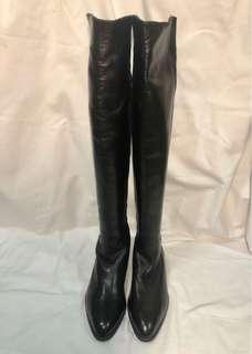Made in Italy, Salmaso black Nappa over the knee leather tall boots, 5050 style, size 34.5, US 3.5