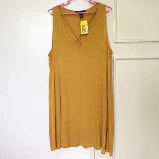 F21 Mustard Flowy dress