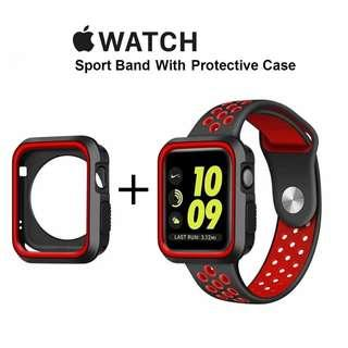 蘋果手錶 錶帶 + 保護殼 Apple Watch Band 42mm Band Strap + Case 運動 錶帶 Sports ⌚️ for series 1 / 2 / 3 Nike Edition (Red Black)