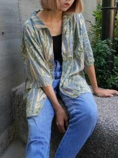 🚚 古著阿北泰國寬鬆樹枝花襯衫