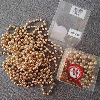 2 pcs Gold beaded garland