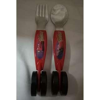 Cars Utensil Set - Spoon and Fork - Lightning McQueen