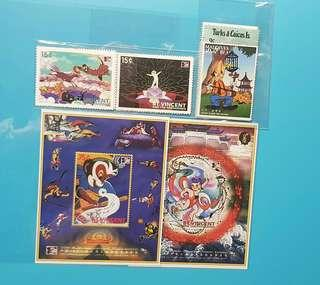 (包平郵)27張卡通郵票+2張小型張