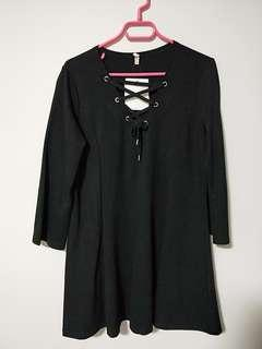 Long Sleeved Black Dress with Chest design