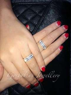 銀鍍18K白金全圈鋯石戒指 jewellery- CZ silver gold plated ring HK size11, 15