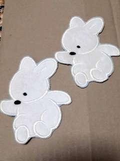 Iron On Patch Sewn On Cute and Adorable Biege Rabbit, 11cm x 9cm for S$3.90