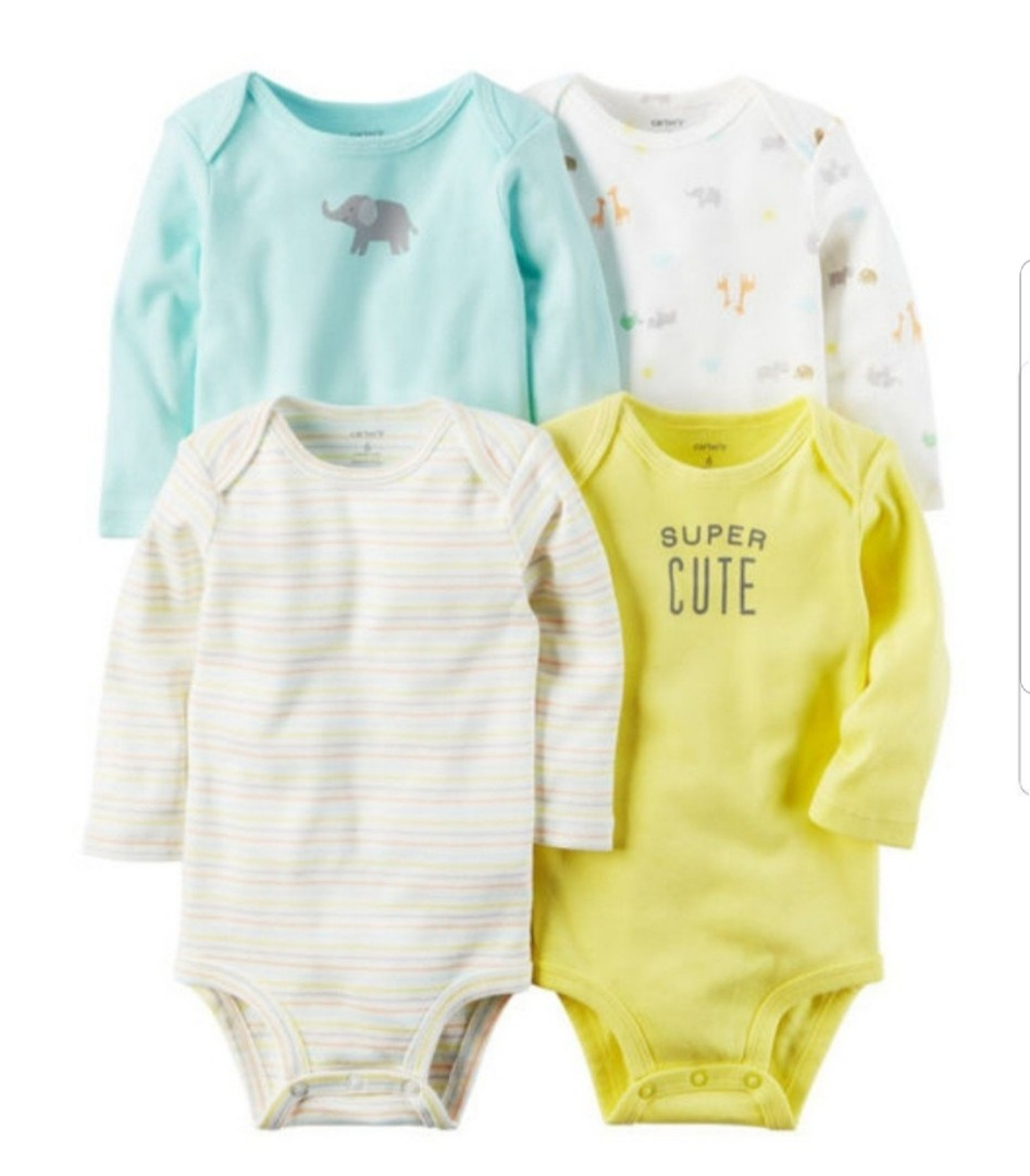e9ce44c7d8 9M  BN Carter s 4-Pack Long Sleeve Bodysuits For Baby Boy