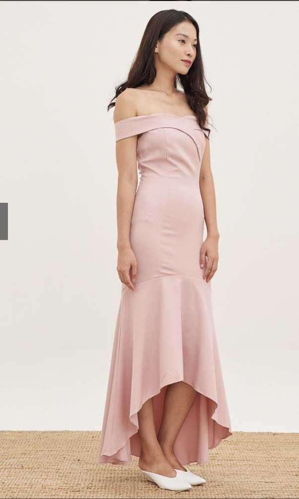 8633ea55840f Ashleigh Mermaid Hem Dress in Blush, By Lovengold (Pink Off Shoulder Dress,  bridesmaids dress), Women's Fashion, Clothes, Dresses & Skirts on Carousell