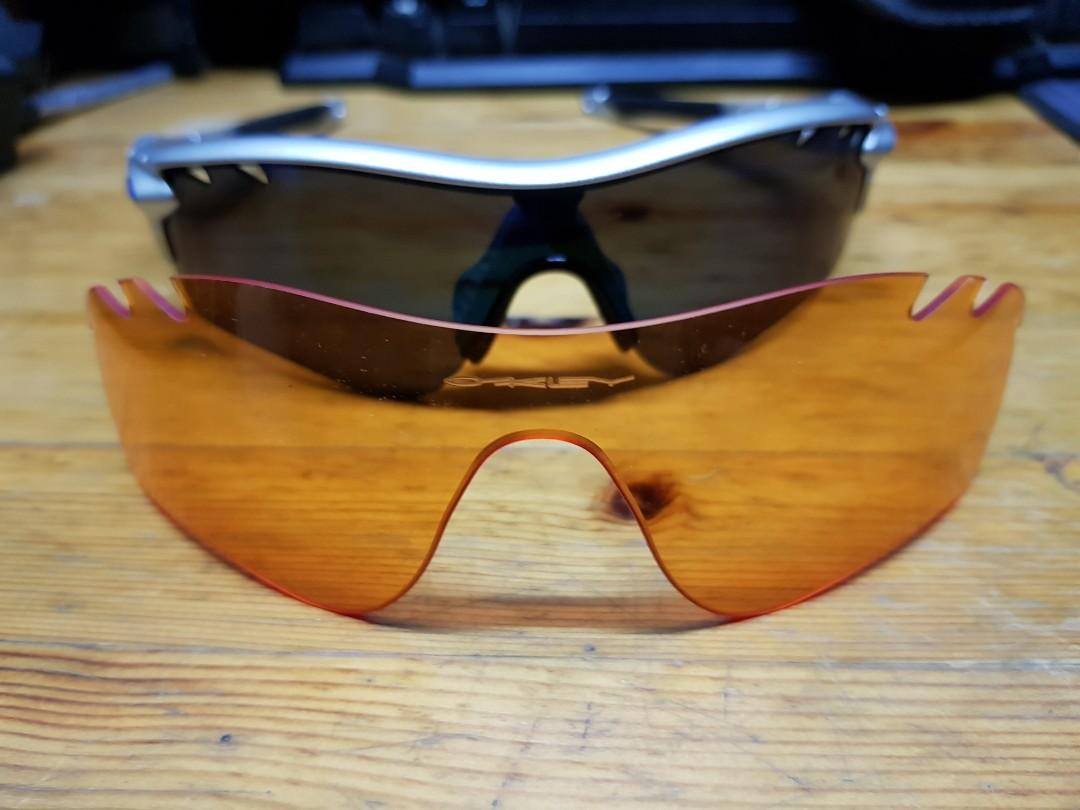 6b18e57fbf1fd Authentic Oakley radarlock silver c w orange lens