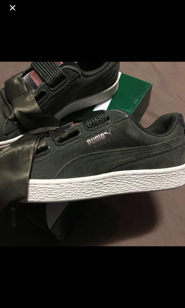 reputable site b405f 51f35 Authentic puma suede heart in olive green, Women's Fashion ...