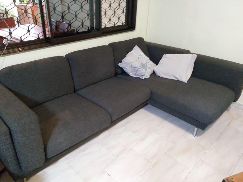 Blue/Grey L-Shaped Sofa