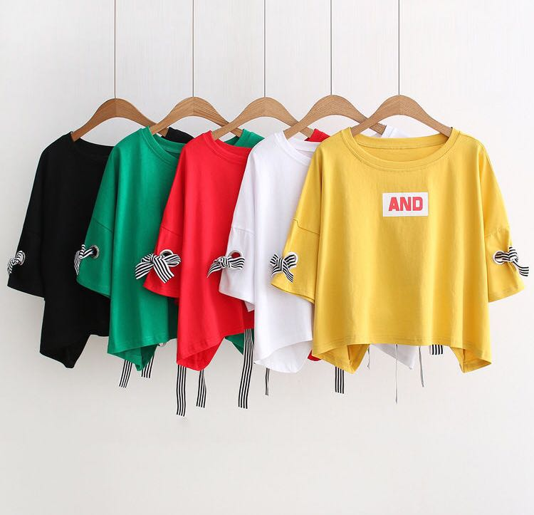 BNWT - Bow accent cropped t-shirt (yellow)