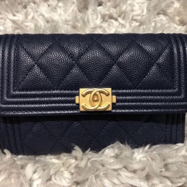 013442586bb0 Chanel boy medium size wallet in caviar leather dark blue with GHW, Luxury,  Bags & Wallets, Wallets on Carousell