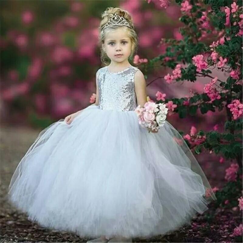3fbf52d8b31fe Children Ball Gown Dresses 2018 Summer Kids Dress Sequins Patchwork Dress  For Girls Party Formal Occasion Dress