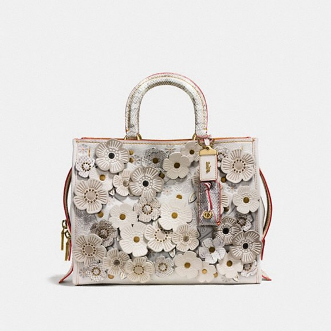 f934214a90 Coach Rogue With Snakeskin Tea Rose