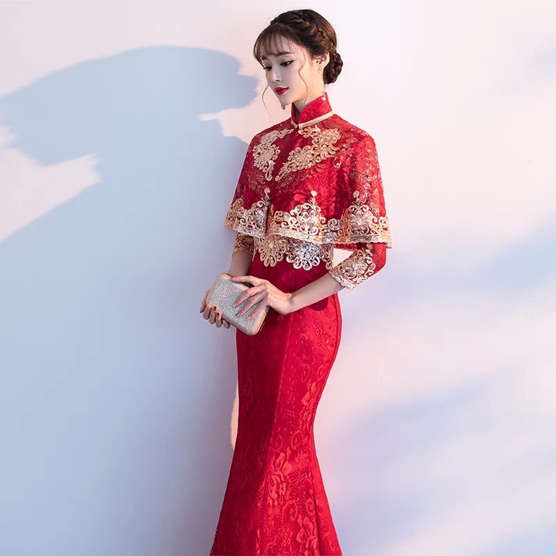 269129323 Fishtail bride red Chinese wedding cheongsam wine slim evening dress ...