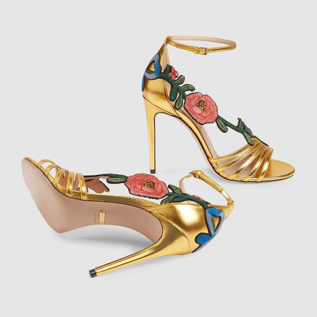 170509f18f9 Gold Embroidered metallic leather mid-heel sandal