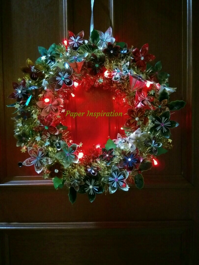 Handmade Origami Christmas Wreath With Led Lights Furniture Home
