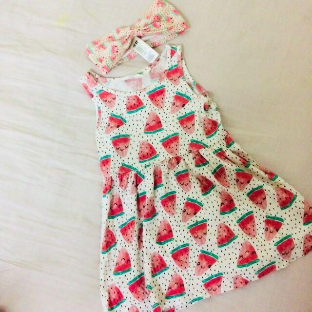 d25bb7d876be H&M watermelon dress & headband, Babies & Kids, Girls' Apparel on ...