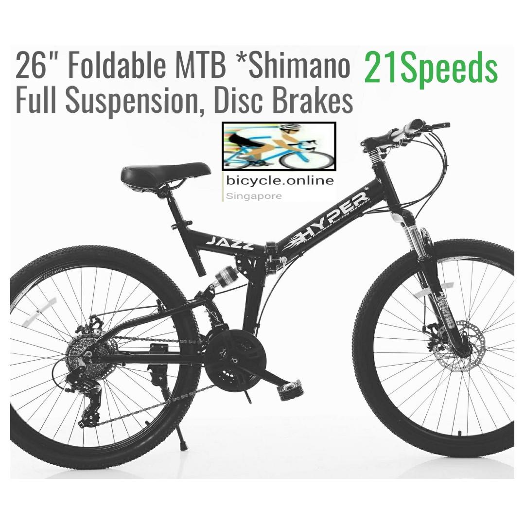 """26/"""" Folding Mountain Bike Shimano 21 Speed Bicycle Full Suspension MTB Bikes"""