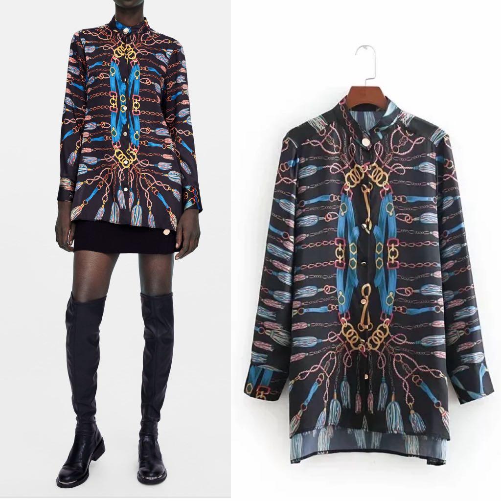 239a307fc24 💃🏻Inspired Zara Chain Print Shirt Long Sleeve Shirt💃🏻