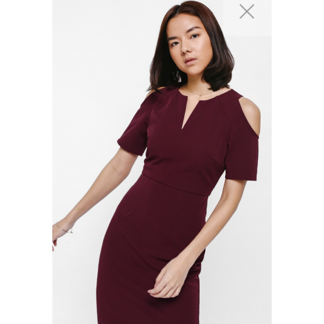 7a91edb90603 LB Ohanis Cut Out Midi Dress Maroon